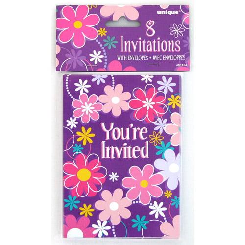 Birthday Blossom Invitations, 8-Count