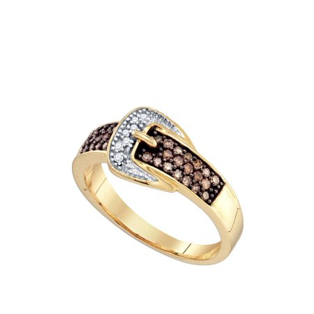 Size 7 - 10k Yellow Gold Chocolate Brown Diamond Belt Buckle Band Ring (1/4 Cttw)
