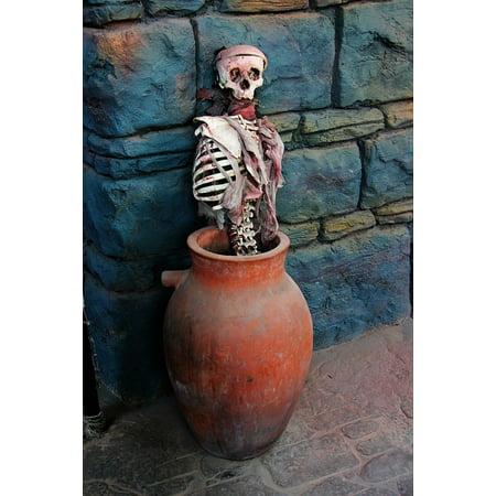Peel-n-Stick Poster of Skull Bones Terror Halloween Body Pirates Jar Poster 24x16 Adhesive Sticker Poster Print (Halloween Jar)