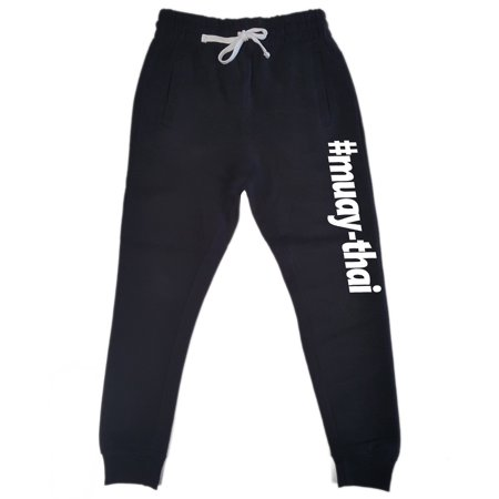 Men's #Muay-thai Black Fleece Gym Jogger Sweatpants Large Black