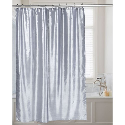 Carnation Shimmer Faux-Silk Shower Curtain - Pewter