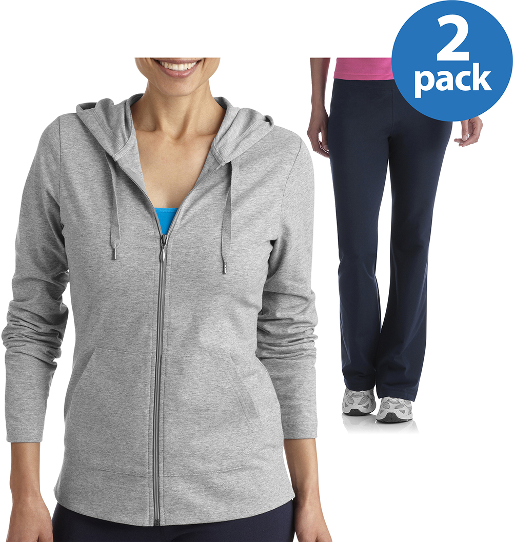 Danskin Now Womens Dri More Hoodie and Core Active Pants Value Bundle
