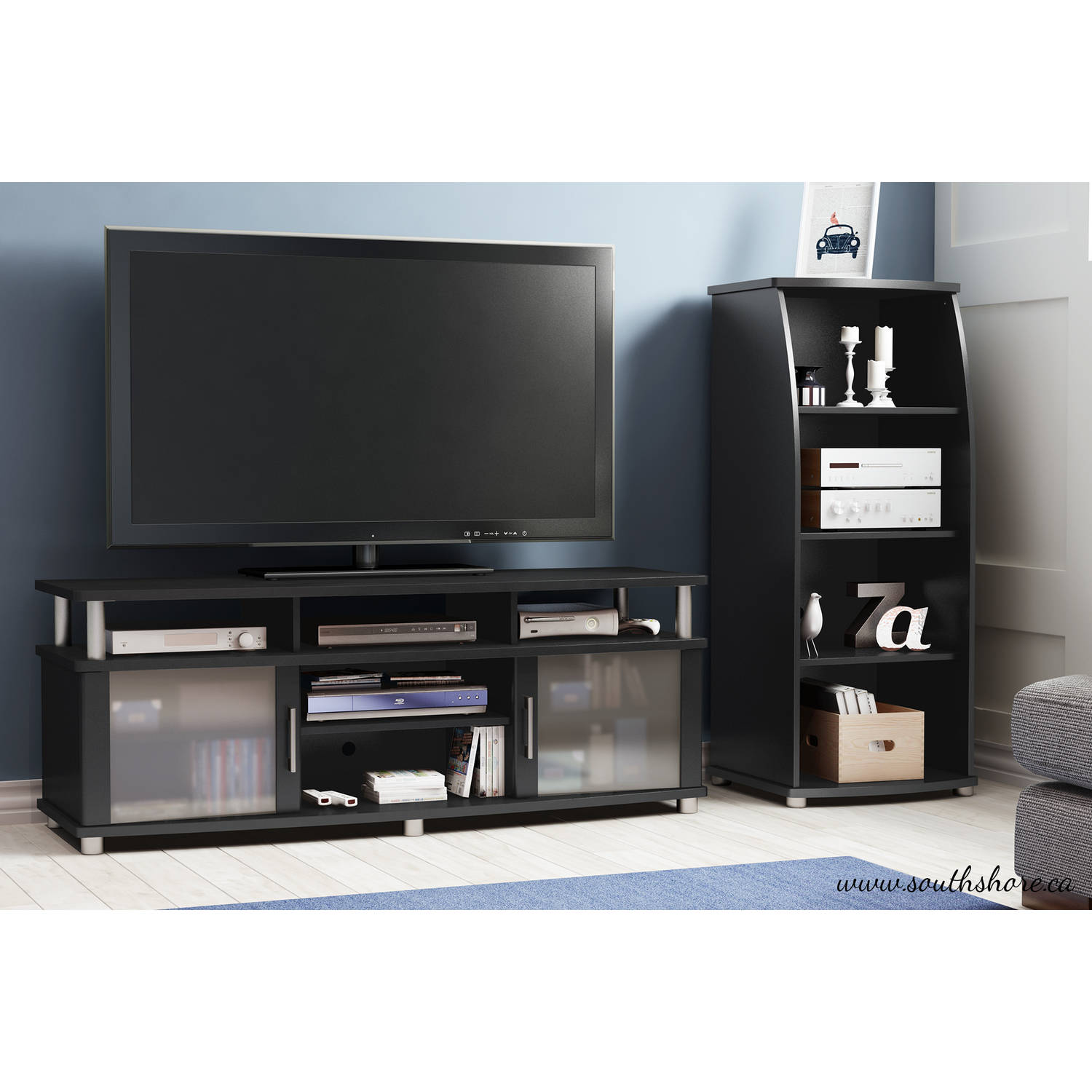 South Shore Solid Black Audio Tower, City Life Collection