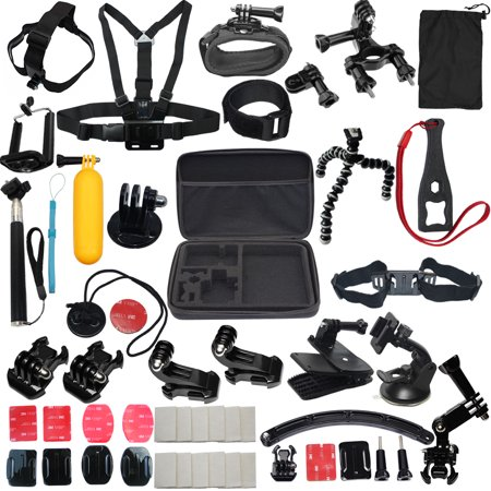 LotFancy 50-en-1 kit de accesorios deportivos Bundle Adjuntos para GoPro Hero 5 4 3 2 1 3 + SJ4000 SJ5000 HD vídeo de la acción Cámaras DVR, caja de almacenamiento incluido