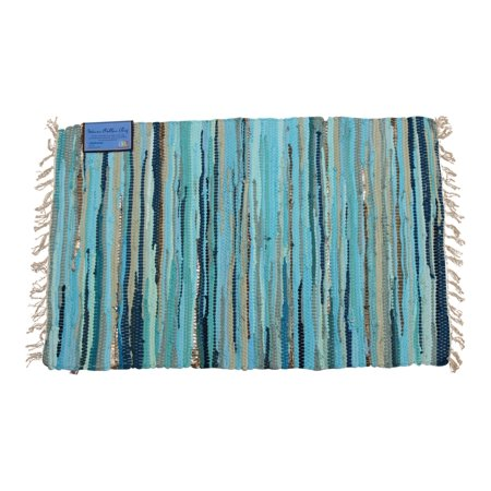 Coastal Teal Color Chindi Woven Accent Throw Rug 36x24