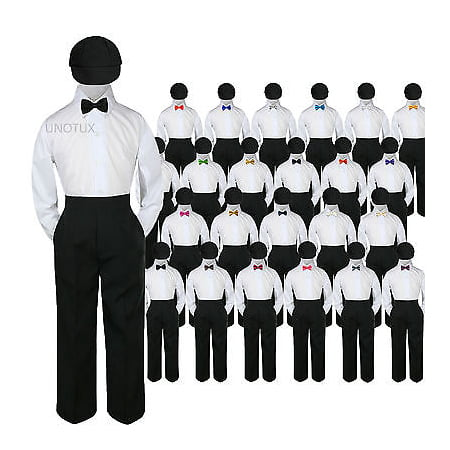 23 Color 4 pc Set Bow Tie Boys Baby Toddler Kid Formal Suits Black Hat Pants S-7