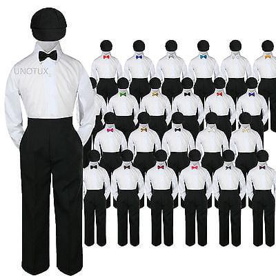 23 Color 4 pc Set Bow Tie Boys Baby Toddler Kid Formal Suits Black Hat Pants S-7 - Rex Kids