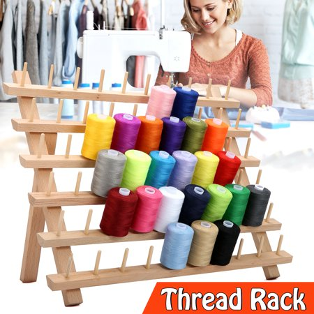 Art Supply 60 Spools Folded Wooden Thread Rack for Sewing & Embroidery (Wooden Thread Spools)