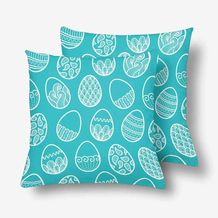 GCKG Doodle Easter Egg Pillowcase Throw Pillow Covers 18x18 inches Set of 2 - image 3 of 3