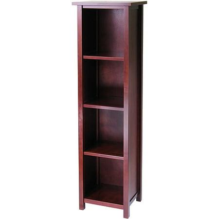 Milan 4-Shelf Tower Bookcase, Walnut - Milan 4-Shelf Tower Bookcase, Walnut - Walmart.com