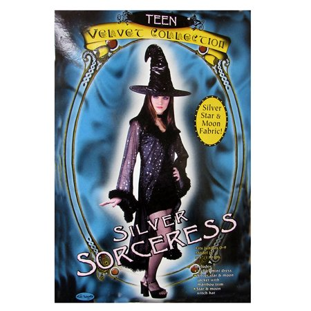 Fun World Womens 'Silver Sorceress' Halloween Costume, Black, S/M](Halloween Appetizers Family Fun)