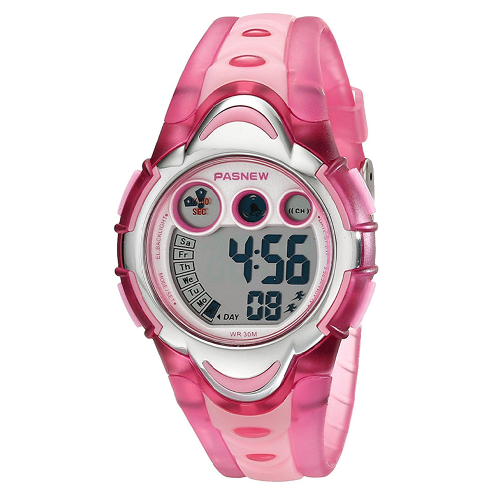 Children Waterproof LED Digital Wristwatch, Multifunction Sport Watch Color:Pink
