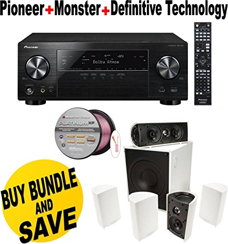 Pioneer VSX-1130-K 7.2-Channel AV Receiver with Built-In Bluetooth and Wi-Fi (Black) + Definitive Technology -