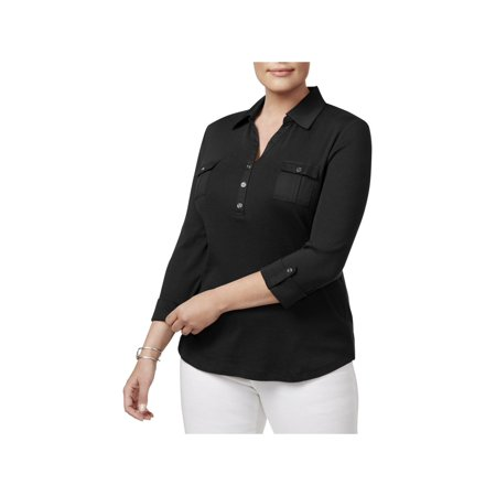 Karen Scott Womens Plus Long Sleeve Day To Night Polo Top