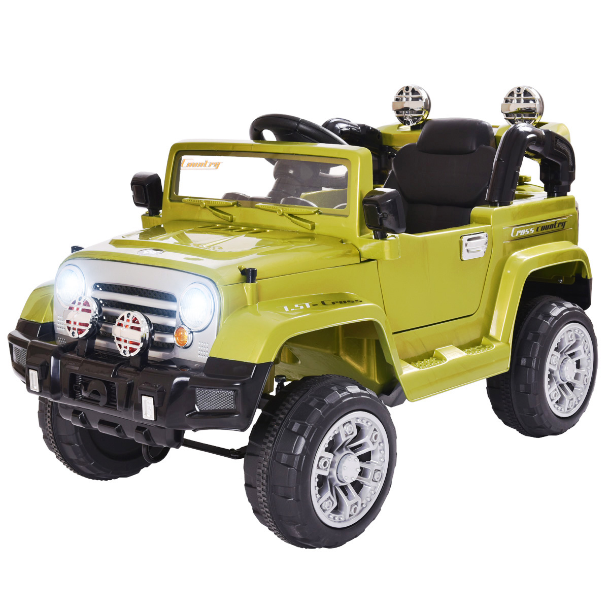 Jaxpety Kids Ride On 12V Jeep Style Battery Powered Toy Vehicle Remote Control w/ MP3 LED Lights, Green