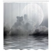Full Moon Mystic Charm Sky Rain Cloud Gray Dark Midnight Twilight Shower Curtain