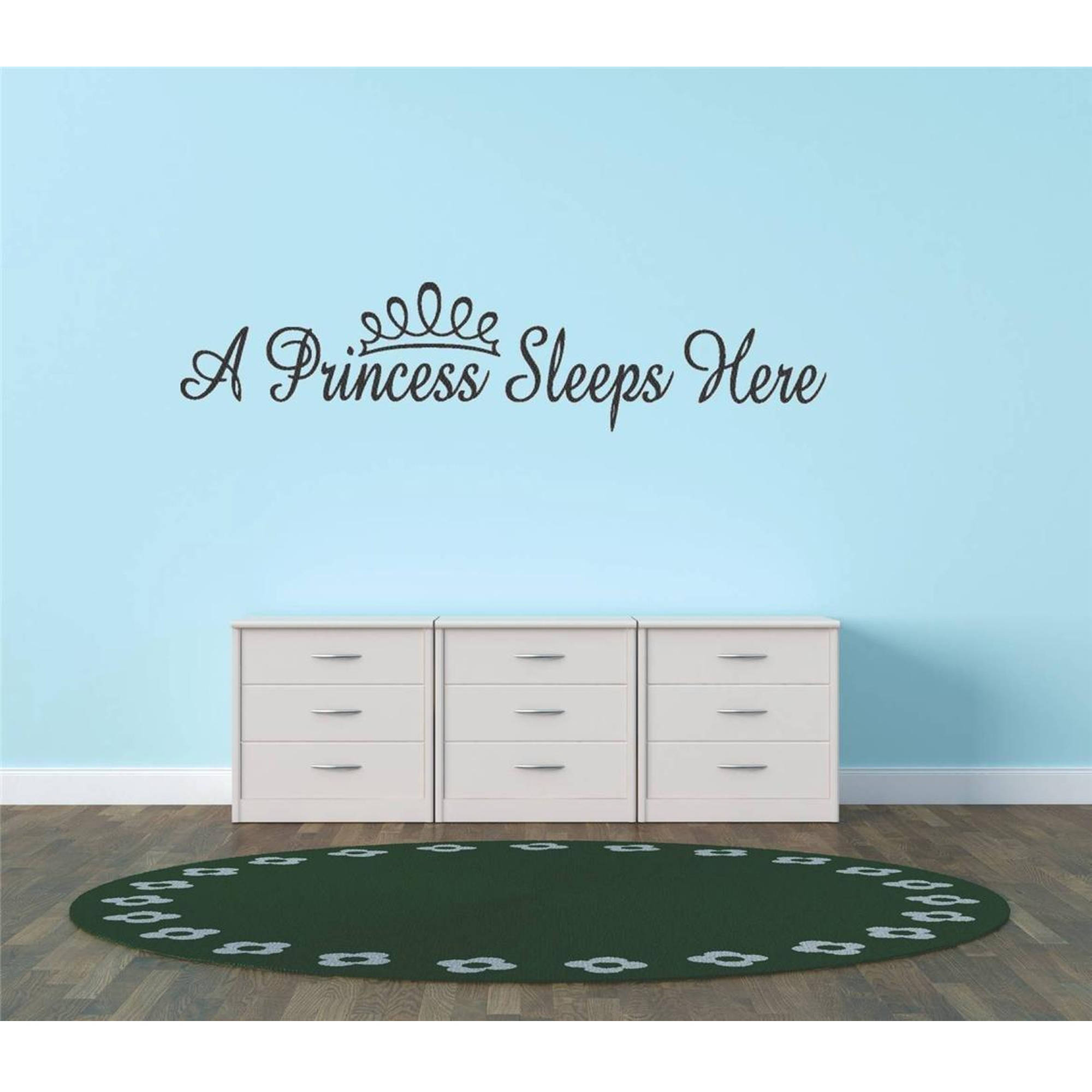 "A Princess Sleeps Here Girl Bedroom Vinyl Wall Decal, 6"" x 30"", Black"
