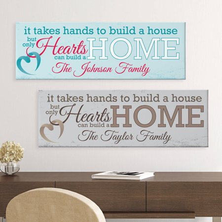 Personalized Hearts Build a Home Canvas, Available in 2