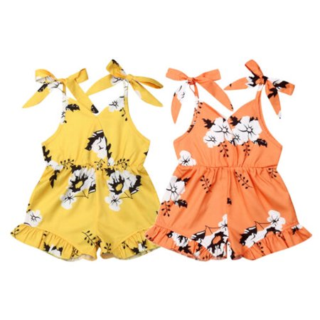 Kids Orange Jumpsuit (Kids Baby Girl Clothes Sleeveless Flower Romper Jumpsuit Bodysuit Overall)