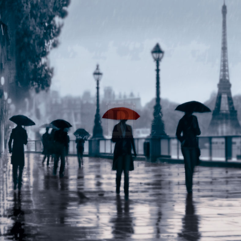 Paris Red Umbrella Poster Print by Robert Canady (12 x 12)
