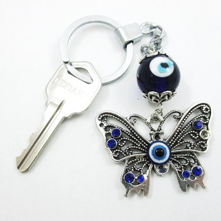 Beaded Keychain (2 Pc Lucky Eye Butterfly Keychains Key Ring Bead Good Blessing Key Chain)