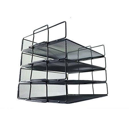 4 Pack Metal Letter Mesh Tray Stackable Office Paper Organizer for Desktop Document File Black - Office Trays