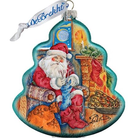 G Debrekht Holiday Night Before Christmas Tree Glass Ornament