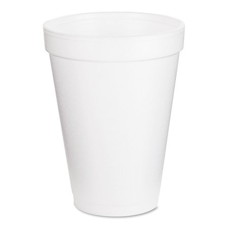 Dart 12J12 Foam Drink Cups, 12oz, White, 25 per Bag (Case of 40 Bags) Dart Dart Foam Cup