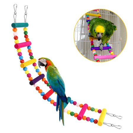 Metal Parrot Toy (Parrot Pet Toy Climbing Ladder Swing Bridge Bite Toy Bird Cage Stand Bar for Small and Large Budgie)