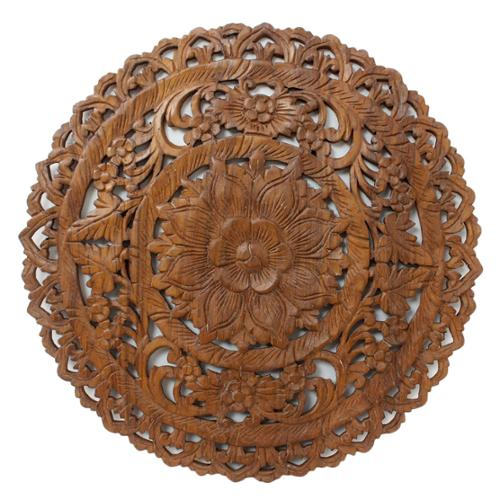 Haussmann Handmade Round Brown Stain Lotus Panel Inlay Wall Decor (Thailand)
