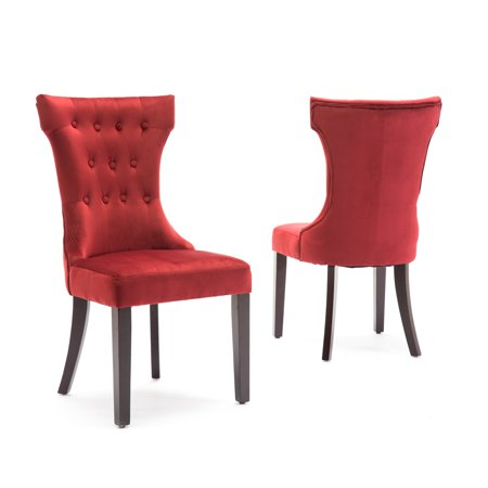 Fantastic Belleze Set Of 2 Red Premium Dining Chairs Side Armless W Wooden Legs Andrewgaddart Wooden Chair Designs For Living Room Andrewgaddartcom