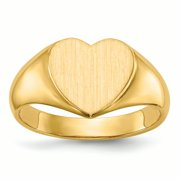 14K Yellow Gold 9.7 MM Heart Engravable Signet Ring, Size 6