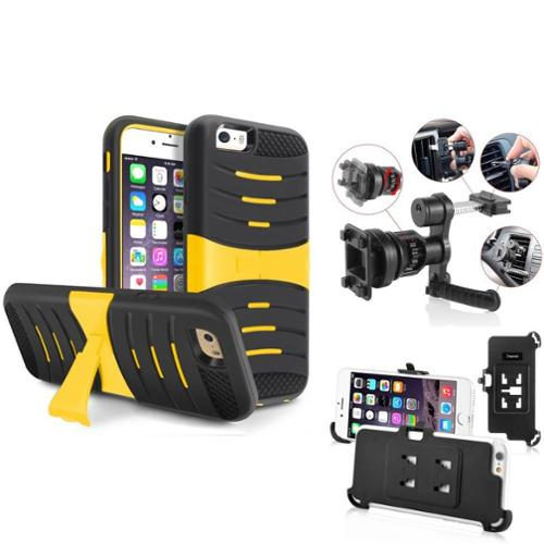 "Insten Black Rubber SKin/Yellow Hard Armor Shockproof Case with Stand for iPhone 6S 6 4.7"" (with Car Air Vent Phone Holder)"