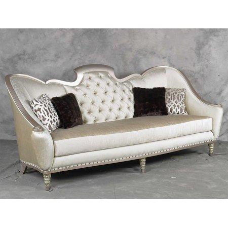 Benetti's Sofia Luxury Silver Finish Pearl Chenille Tufted Sofa Special Order