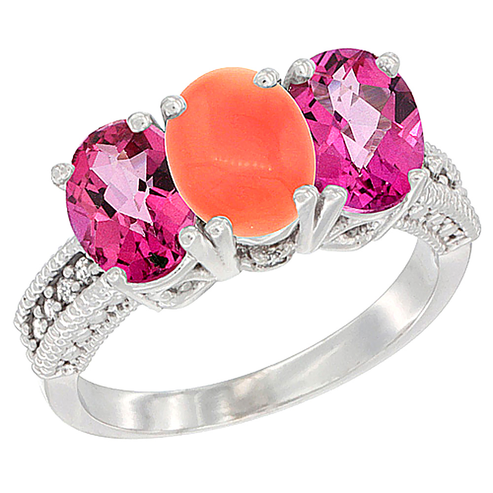 10K White Gold Natural Coral & Pink Topaz Sides Ring 3-Stone Oval 7x5 mm Diamond Accent, sizes 5 10 by WorldJewels