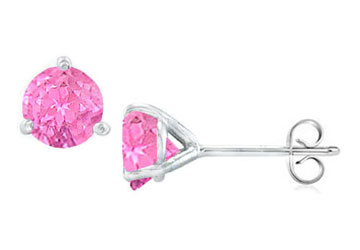 14K White Gold Martini Style Pink Topaz Stud Earrings with 2.00 CT TGW by Love Bright