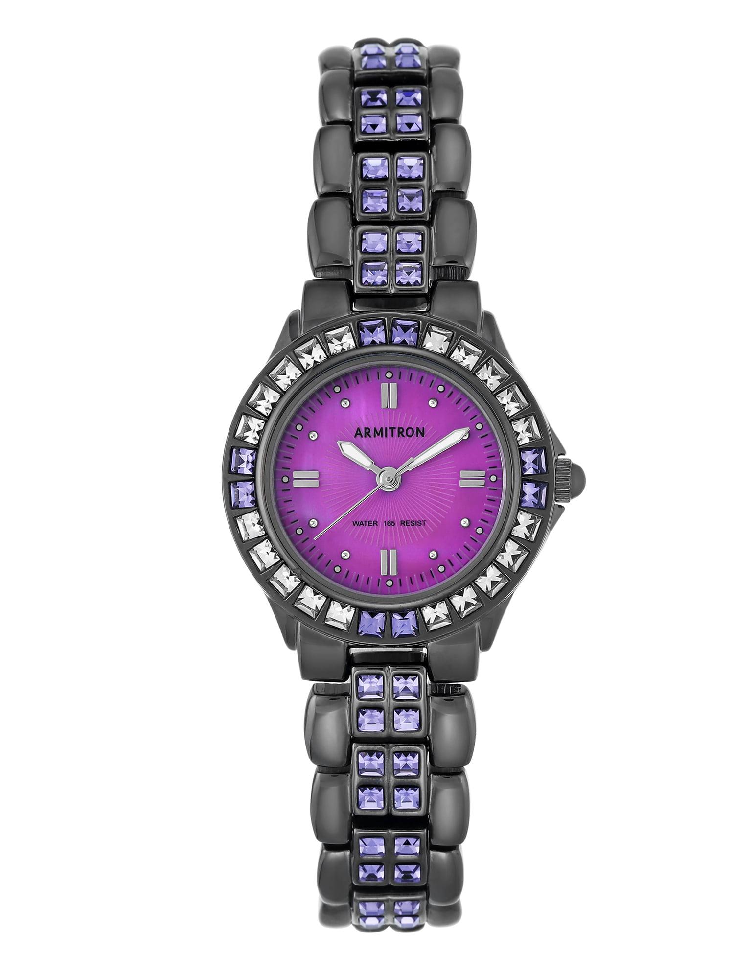 Armitron - Women s Purple Swarovski Crystal Accented Gunmetal Watch ... 1ebbd897ae