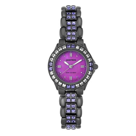 Women's Purple Swarovski Crystal Accented Gunmetal Watch, Stainless Steel
