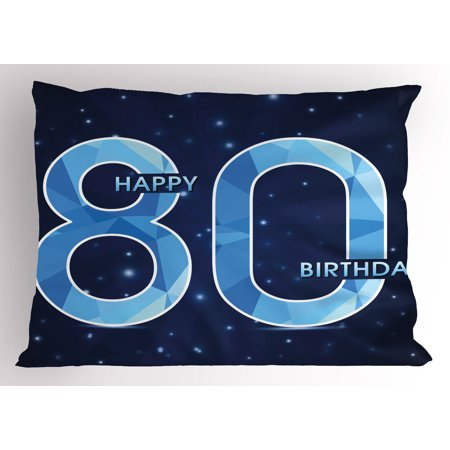 80th Birthday Pillow Sham Diamond Age 80 Yeras Old Happy Birthday Party Theme with Stars, Decorative Standard Size Printed Pillowcase, 26 X 20 Inches, Navy Blue and Sky Blue, by - 80 Theme