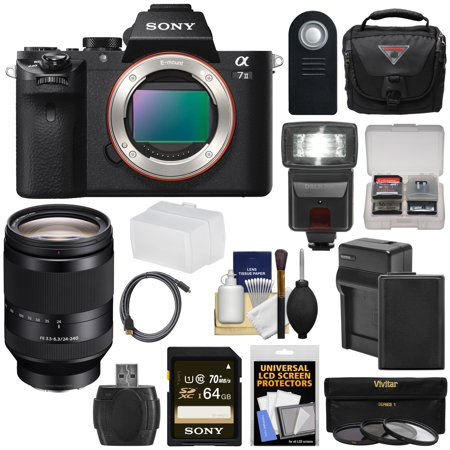 Sony Alpha A7 II Digital Camera Body with FE 24-240mm OSS Lens + 64GB Card + Battery + Charger + Case + Flash + 3 Filters + Kit