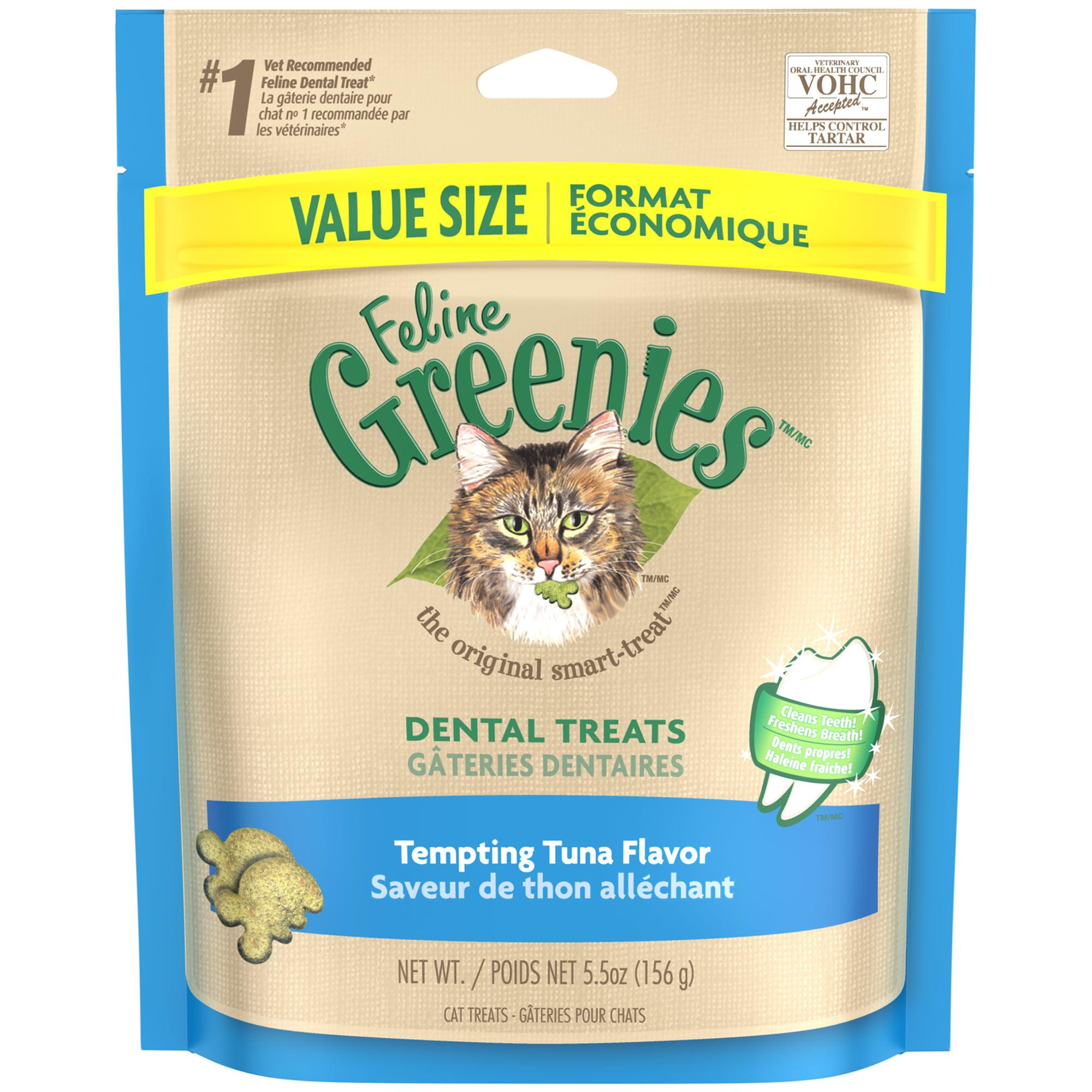FELINE GREENIES Dental Cat Treats Tempting Tuna Flavor, 5.5 oz. Pouch