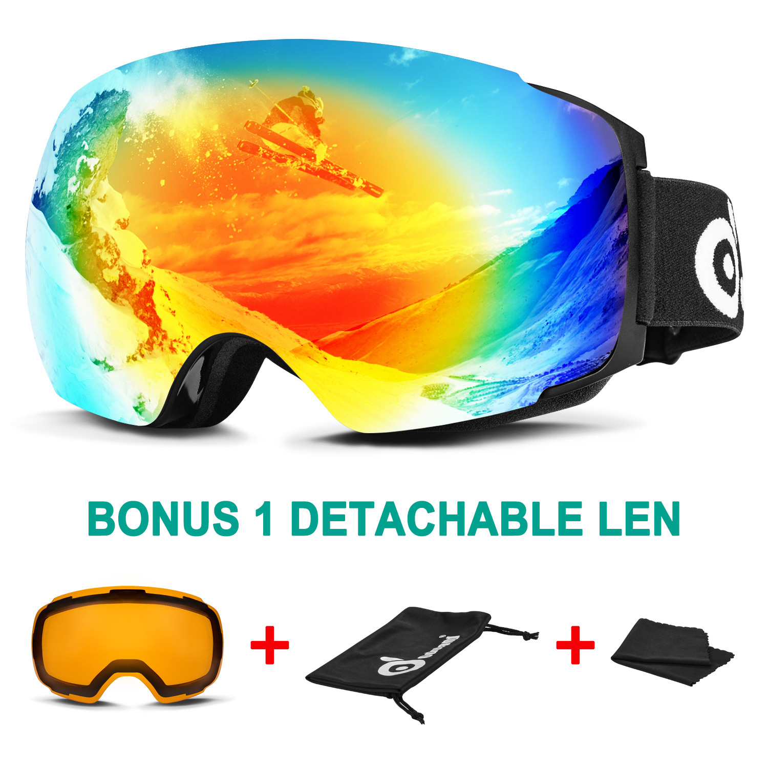 Odoland Ski Goggles for Men Women Magnetic Interchangeable Large Spherical Frameless OTG UV400 Protection by