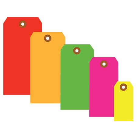 G12011B Fluorescent Green 2.75 Inch x 1.38 Inch 13 Point Cardstock Shipping Tags Made In USA CASE OF 1000 Bright fluorescent tags demand attention!.Tags feature a 3/16 , reinforced, tear resistant eyelet.Tags may be attached with string or wire.12  cotton string available G2501.12  wire available G2500.