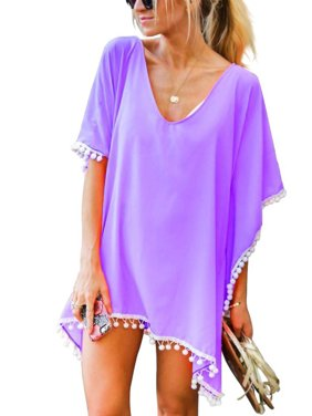 4b09f844d3 Product Image Beach Bikini Cover up Wrap Women Swimwear V Neck Loose Fit  Short Dress with Tassels Boho
