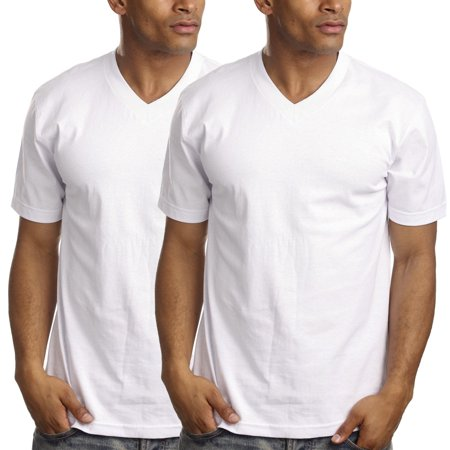 Royal Apparel (2 Pack) Short Sleeve T Shirts For Men V Neck Undershirts Ring Spun Cotton Blend Plain Tee