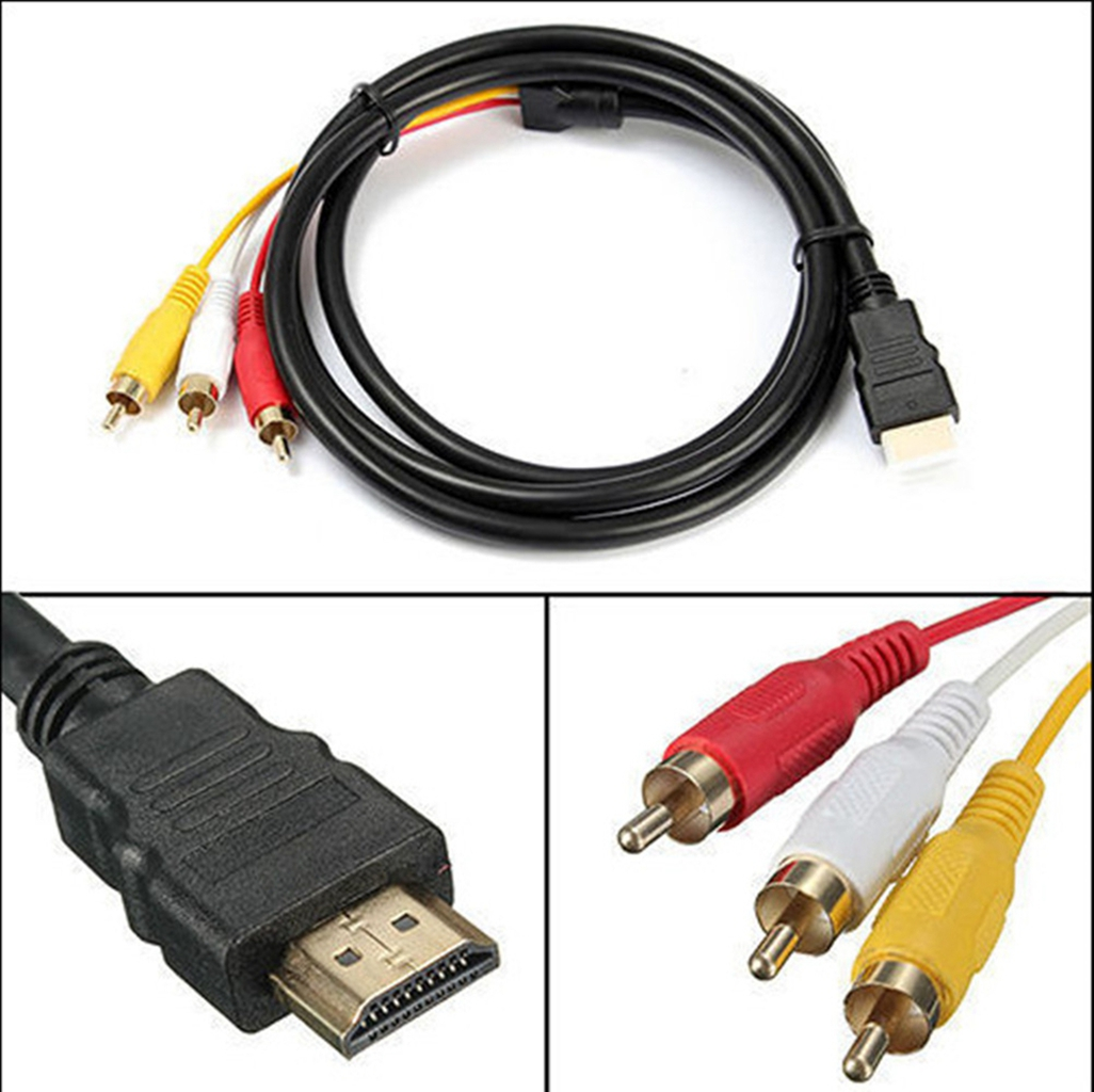5ft HDMI Cable, Male to 3RCA AV Connector Adapter Cord Transmitter (NO SIGNAL CONVERSION FUNCTION)