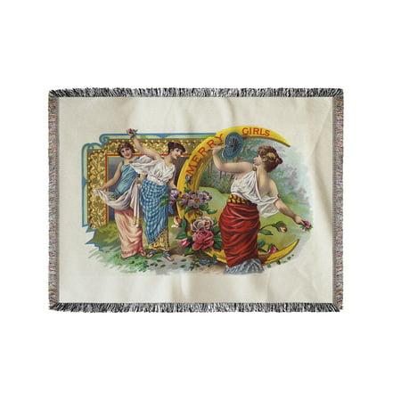 Merry Girls Brand Cigar Box Label (60x80 Woven Chenille Yarn
