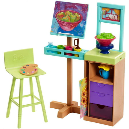 Barbie Career Art Studio with Easel & Flip Painting Playset Barbie Dream House Accessories