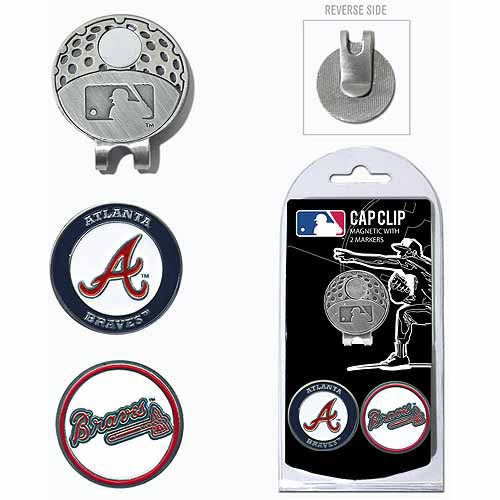Team Golf MLB Atlanta Braves Cap Clip With 2 Golf Ball Markers