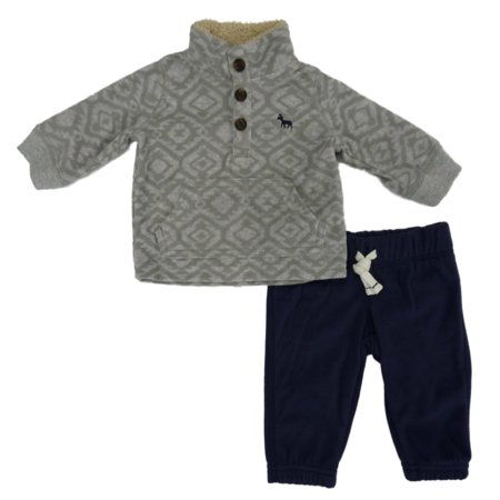 Carters Infant Boys 2-Piece Gray Fleece Sweatshirt & Blue Sweatpants Set